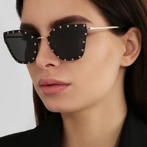 VALENTINO CRYSTAL STUDDED CAT-EYE METAL SUNGLASSES